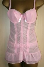 Pink Sheer Sensuous Baby Doll Chemise Nightie Underwired Cups