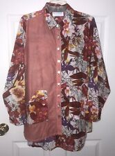 Bleu Bayou Womens L Floral Artsy Red Pockets Button Front Tunic Top Large NEW