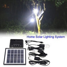 Outdoor 4W Solar Lighting System Energy Kit USB Charger 3 Led Bulb Camping