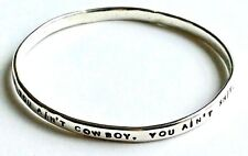 PERSONALISED MESSAGE MOTTO BANGLE hand made UK STERLING SILVER 5.4mm Hallmarked
