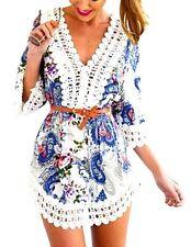 Markenlose 3/4 Arm Mini-Damenkleider im Boho -/Hippie-Stil