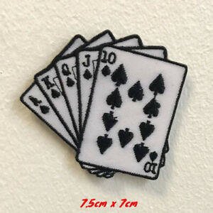 Casino Poker Card art badge clothes Iron on Sew on Embroidered Patch