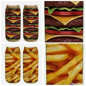 2x Pairs Socks Cheeseburger Fries Ladies/Girls Low Ankle Novelty Secret Santa