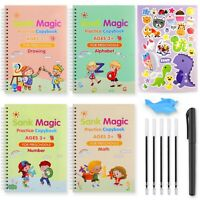 4 pcs Magic Practice Copybook for Kids Handwriting Maths English Reusable Pen