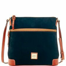 Authentic Dooney & Bourke Black Suede Leather Crossbody Bag 264