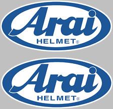"""(2) Arai Helmet Decals Stickers ATV Racing Dirtbike Pair Blue  3.5"""" Wide"""