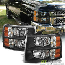 Black 2007-2013 Chevy Silverado 1500 2500 3500 Headlights Headlamps 08 09 10 11