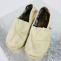 Toms Youth Girls Size 1.5 Slip On Light Beige Canvas Casual Everyday