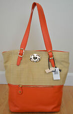 NWT Emma Fox $298 Leather Tote Large Talbots Shoulder Bag Orange Handbag