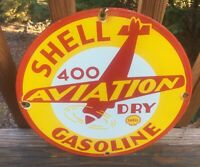 """Vintage Shell Aviation Gas Heavy Porcelain Sign 12"""" Gas And Oil Sign"""