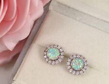 Vintage Jewellery Sterling Silver Opal Earrings Antique Deco Jewelry Ear Rings