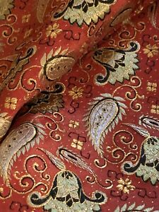 Vintage 1960s Red Silver Gold Metallic Paisley Jacquard Fabric Material Sewing