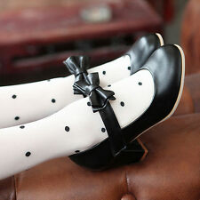 Womens Leather Lolita Bowknot Mary Janes Thick Heel Spring Candy Shoes black US7