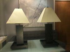 CRATE&BARREL JAPANESE HIDA STYLE MID-CENTURY MODERN SET 2 DARK WOOD BASE LAMPS