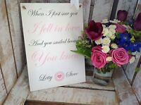 PERSONALISED LOVE QUOTE PLAQUE/SIGN, WEDDING ENGAGEMENT MR MRS PRESENT BOYFRIEND
