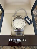 LONGINES CONQUEST 41MM WHITE DIAL STAINLESS STEEL WATCH MENS OR WOMENS