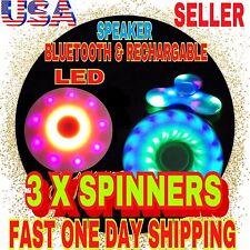 3 X Bluetooth Speaker LED TRI SPINNER FIDGET, RECHARGEABLE,LED,CHRISTMAS GIFT