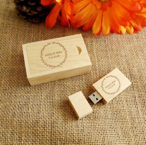 Custom Engraving Wood USB Flash Drive & Box, Wedding USB, Wedding Gifts, USB 2.0