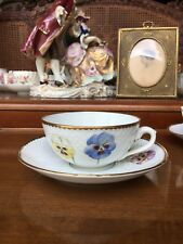 Rare B&G cup & saucer Hand Painted with Pansy by Olga Alexandrovna of Russia