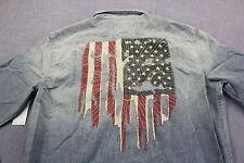 RALPH LAUREN D&S Men CHAMBRAY BLUE EAGLE & USA FLAG LS Button SHIRT NWT XL $125