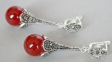 "Pair Marcasite 925 Sterling Silver  with ruby Jade Dangle Earrings 1 4/5"""