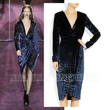 $3,600 RUNWAY FAMOUS GUCCI DRESS BLUE LEOPARD VELVET WRAP SKIRT LONG SLEEVE 40