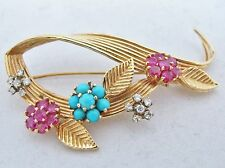 """2.35"""" Vintage 14K Gold Brooch Pin with Diamonds, Turquoise & Rubies (12.3 grams)"""