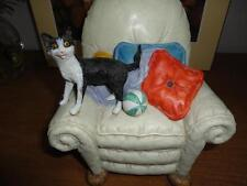 B&W Cat on Beige Armchair Figurine Handpainted Imported LDT Montreal Canada