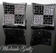 XXL Mens BLACK & WHITE Simulated LAB Diamond 14k White Gold Gp HipHop Earrings