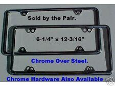 Slimline Chrome Steel LICENSE PLATE FRAMES. Set of 2.
