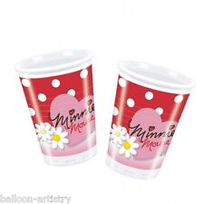 10 Disney Minnie Mouse Polka Dots Red & Pink Plastic Party Cups
