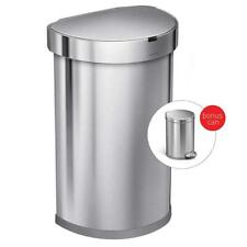 NEW simplehuman ST2200 45L Semi-Round Sensor Trash Can J Liner + Mini Step Can