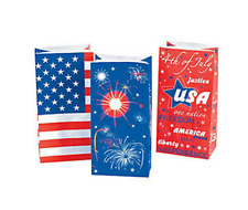 Pack of 12 - Patriotic USA Paper Bags - July 4th Party Gift Bags