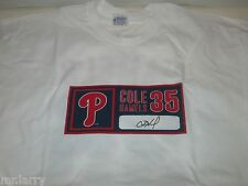 PHILADELPHIA PHILLIES BASEBALL COLE HAMELS PITCHER 2 SIDED IBEW SGA SHIRT LARGE
