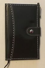 Notebook with Pen-Black with White Stitching Perfect For Purse Mother's Day gift