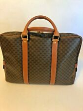 CELINE Paris Brown Macadam Canvas and Leather Briefcase Business Bag MC96 Italy