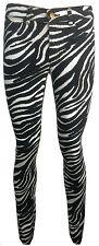 Ladies Ex Zara New Skinny Zebra Black Spandex Jeans Trouser BNWT