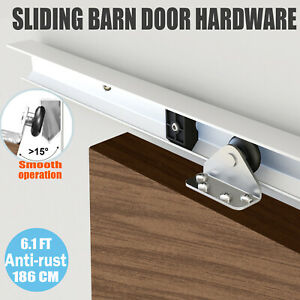 Sliding Rail Barn Door Hardware Steel Roller Closet Track System Home Kit 6.10FT