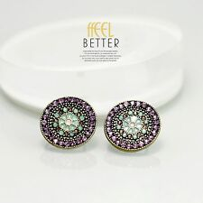 earrings Clip on Golden Studs Round Ethnic Multicolored Purple Green J8