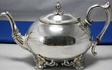 Victorian Tea Pot With Ornate Base & Feet Gleaming Silverplate & Lovely Finial