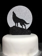 Howl At The Moon Wolf Double Layered Glitter Cake Topper Decoration Laser Cut
