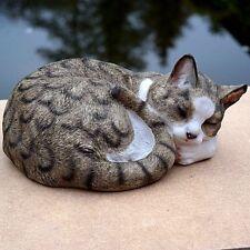 Katze Kater Katzen Mieze Tier Tierfigur Eingerollt Dekofigur Grau Weiß Gestreift
