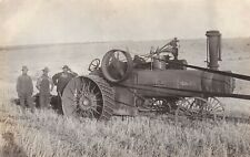 OLD REAL PHOTO CASE FARM MACHINERY POSTCARD CASE ENGINE 3 FARMERS RARE CARD