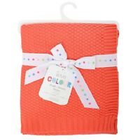 Silvercloud Coral Pink 100% Soft Cotton Baby/babys Cot blanket/Wrap Boys/Girls