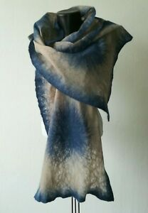 Set Cobweb Beige and Blue Felted Scarf and Brooch from Merino, Felted Shawl
