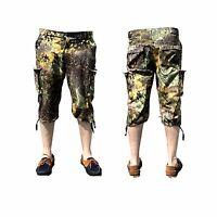 Mens Cargo Shorts Combat Cotton Camouflage Jungle Vintage 3/4 Army Beach Bermuda