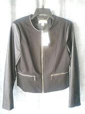 MICHAEL KORS New womens black jacket faux leather sleeve sz 12 zipper front $195