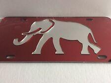 Alabama Crimson Tide License Plate, Elephant Auto Car Tag, Red