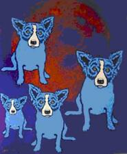 "Blue Dog George Rodrigue      ""Red Moon""      MAKE OFFER     BA DSS"