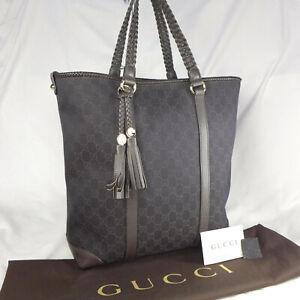 Authentic Rare Gucci Marrakech Dark Brown GG Canvas Large Tote Handbag Ex Con